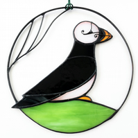 Puffin Stained Glass Suncatcher, Puffin Glass Suncatcher, Suncatcher
