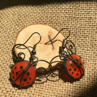 Ladybird Stained Glass Earrings