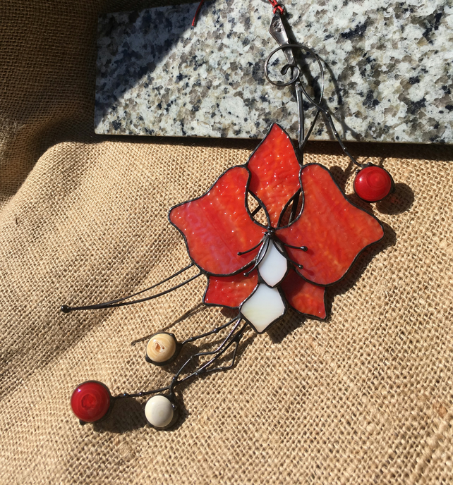 Red Orchid Stained Glass Suncatcher