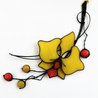 Yelow Orchid Stained Glass Suncatcher