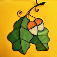 Oak Leaf Stained Glass Suncatcher