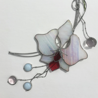 White Orchid Stained Glass Suncatcher