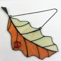 Large Oak Leaf with a Ladybird Stained Glass Window Hanging