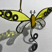Yellow Dragonfly Stained Glass Suncatcher