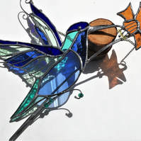Blue Hummingbird with Daffodil Stained Glass Suncatcher
