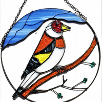 Gold Finch Stained Glass Suncatcher