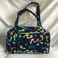 Footprints Box Bag, Unique Holdall, Overnight Bag, Baby Bag, Custom Bag.