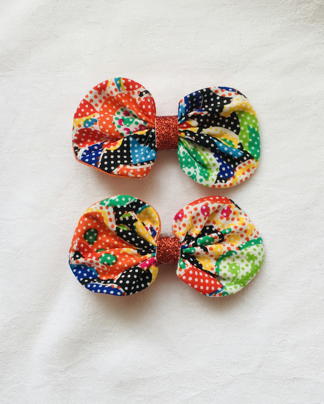 Stunning Abstract Bow Hair Clips, Colourful Hair Clips, Hair Accessories.