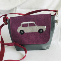 Unique Mini Cooper Messenger Bag, Mini Design Crossbody Bag, Unique Gift.