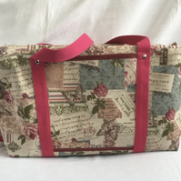 Pretty Holdall Bag, Vintage Style Overnight Bag, Baby Bag.