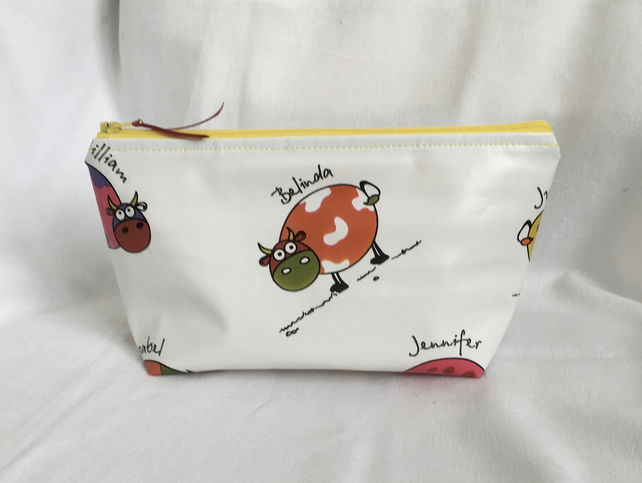 It's a Cow Thing Make Up Bag, Oilcloth Make Up Bag, Fun Cosmetic Bag.