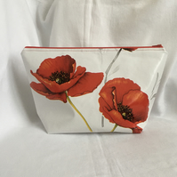 Stunning Poppies Wash Bag, Large Toiletries Bag, Oilcloth Wash Bag, Great Gift.