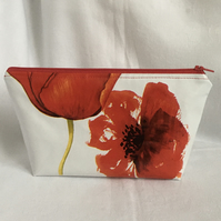 Poppy Make Up Bag, Oilcloth Cosmetic Bag, Cosmetic Bag, Gift Ideas.