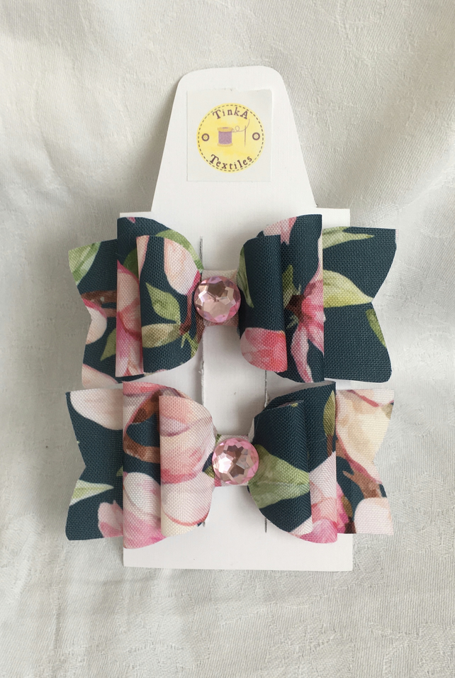 Pretty Magnolia Hair Bow Clips, Hair Bows, Hair Clips, Bow Hair Accessories.