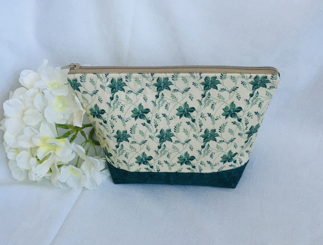 Pretty Make Up Bag, Floral Cosmetic Bag, Make Up Bag, Small Wash Bag.