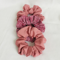 Pretty Pink Set of Scrunchies, Hair Scrunchies, Hair Accessories, Hair Elastics.