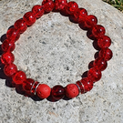 Striking Red Glass and Lava Bead Bracelet