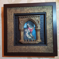 Leonardo Madonna Litta mix media art, wall decoration, framed picture.