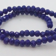 Navy Blue Faceted Rondelle Beads 6mm (11-14)