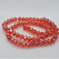 Red AB Plated Faceted Rondelles (11-16A)