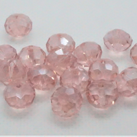 Pink AB Plated Glass Faceted Rondelles (11-17B)
