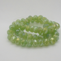 Opaque Lime Green AB Plated Faceted Rondelle Beads (11-19)