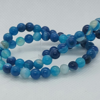 Striped Agate, Plain Round Beads, Dyed Blue (11-22A)
