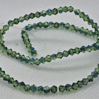 Glass Bicones Green Half Blue Plated (11-22C)