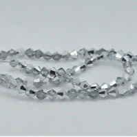Silver Plated Faceted Glass Bicone Beads (11-26B)