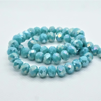 AB Plated Opaque Faceted Rondelle Glass Beads (11-28)