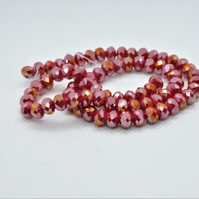 Faceted AB Plated Glass Rondelle Beads (12-5C)