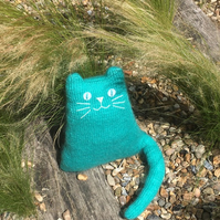 Hand knitted mohair cat doll, bright turquoise cuddly cat cushion