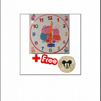 "Children Wall Clock ""Peppa Pig Family"" 17cm with Extra Bonus the Mickey Mouse"