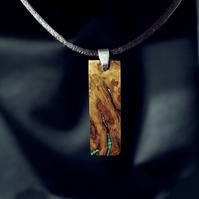 Small Oak Wood Rectangle Necklace With Real Malachite Stone Inlay