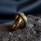 His & Her Wedding Rings Brown Oak Burr Wood With 24K Gold & Turquoise Stone