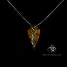 Spear Head Wood Necklace Turquoise Stone Inlay Sterling Silver Chain Option