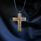 Olive Wood Cross Necklace With Malachite Stone Inlay. Choice Of Cords