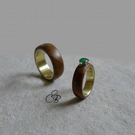 His & Her Matching Weddings Rings. Wood, Brass & Emerald Rings. Engagement Ring