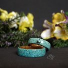 Turquoise Stone Overlay on Oak Burr Wood Ring. Couples Matching Rings