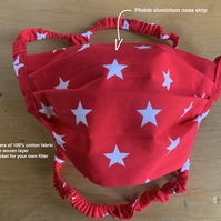 Washable 100% Cotton Face Covering 3 Layers. Stars Red, Grey or Pink. Overhead.