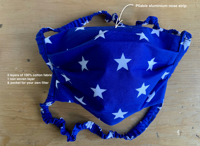 Washable 100% Cotton Face Covering 4 Layers. Stars blue With filter pocket.