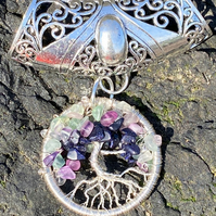 Gemstone Crystal Tree of Life Pendant Silver Wire Wrapped Scarf Bail Slider