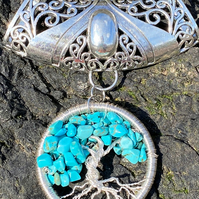 Turquoise Crystal Tree of Life Pendant Silver Wire Wrapped Scarf Bail Slider