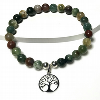 Tree of life sterling silver agate bracelet