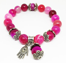Special Handmade Pink Agate Bracelet with Hamsa