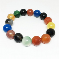 Handmade Rainbow Colours Agate Bracelet, Gift For Woman or Man, Gemstone Jewelry