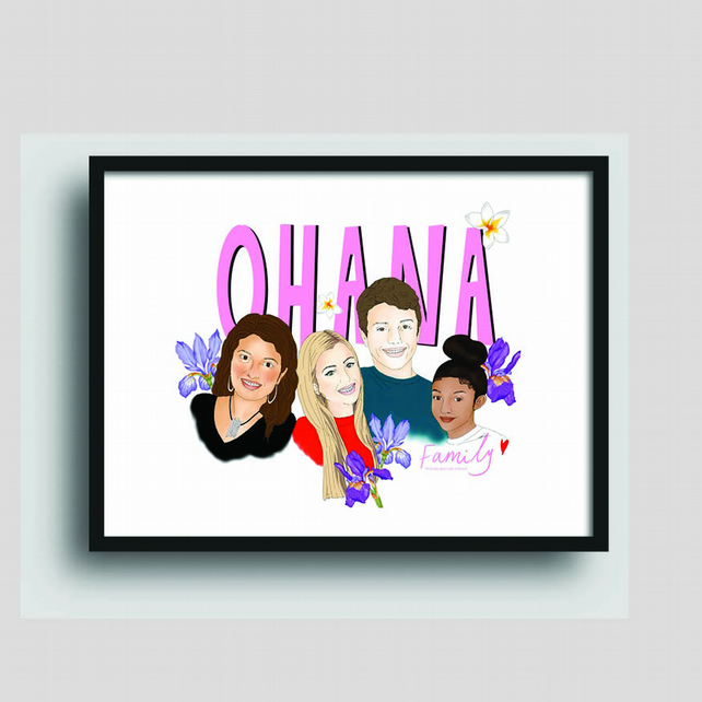 Custom family portrait illustration, birthday, anniversary, gift
