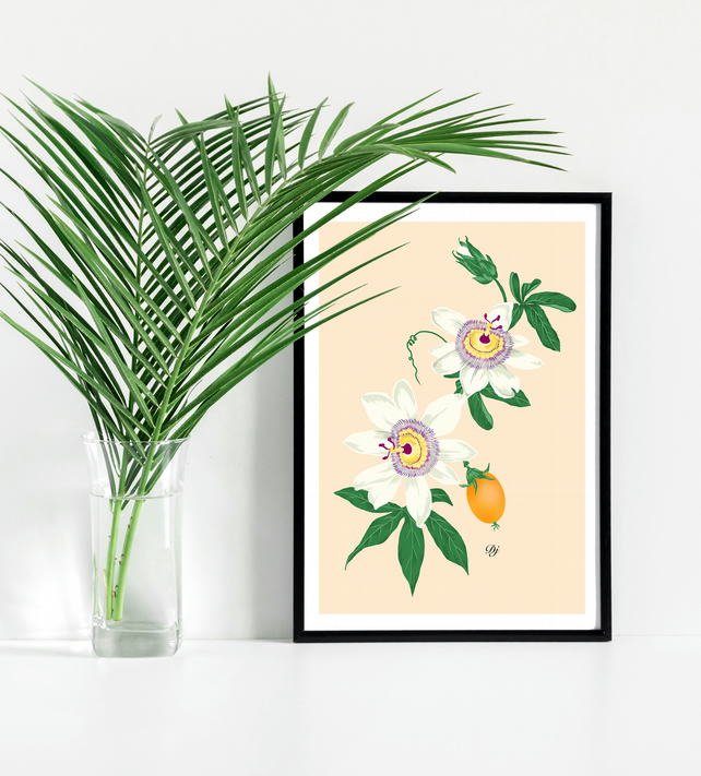 Passionfruit floral illustration