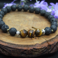 Lava Beads and Crystal Bracelet