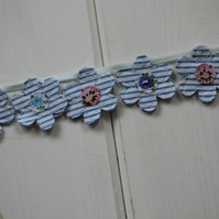 Blue and white floral cake topper bunting - handmade from recycled fabrics